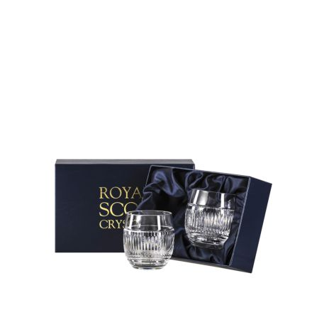 Art Deco Crystal 2 Gin & Tonic Tumblers (G&T) 12oz (Barrel Shaped) - 95 mm (Presentation Boxed) | Royal Scot Crystal