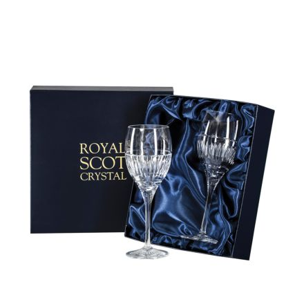Art Deco 2 Crystal Large Wine Glasses - 216 mm (Presentation Boxed) | Royal Scot Crystal - New Shape!