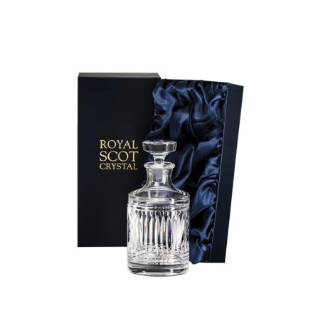 Art Deco Single Malt Round Crystal Spirit Decanter - 200mm (Presentation Boxed) | Royal Scot Crystal