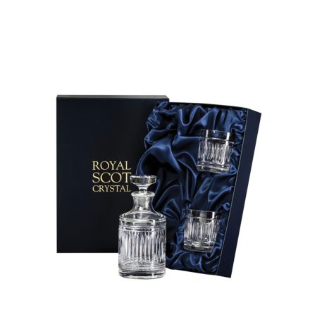 Art Deco Single Malt Round Spirit Set  - 1 Round Decanter & 2 Crystal Tumblers (Presentation Boxed) | Royal Scot Crystal