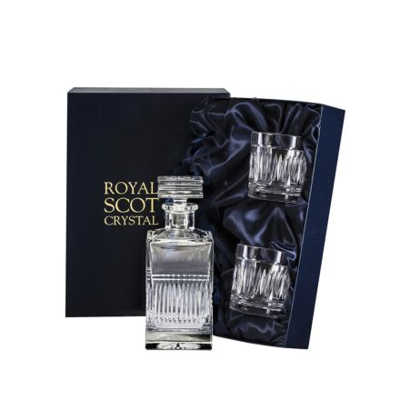 Art Deco Crystal Square Spirit Set Decanter & 2 Tumblers (Presentation Boxed) | Royal Scot Crystal