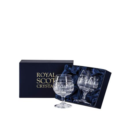 Art Deco 2 Crystal Brandy Glasses - 132 mm (Presentation Boxed) | Royal Scot Crystal - New Shape!