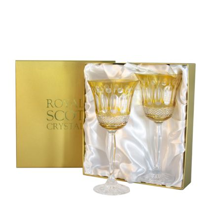 Belgravia - 2 Large Crystal Wine Glasses (Gold Amber) - 210 mm (Presentation Boxed) | Royal Scot Crystal - New!