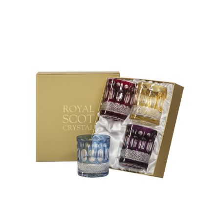 Belgravia - 4 Large Crystal Tumblers (Mixed Colours) - 95mm (Presentation Boxed) | Royal Scot Crystal - New
