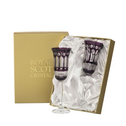 Belgravia - 2 Champagne Flutes (Mulberry) - 230 mm (Presentation Boxed) | Royal Scot Crystal - New!
