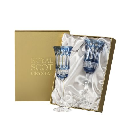 Belgravia - 2 Champagne Flutes (Sky Blue) - 230 mm (Presentation Boxed) | Royal Scot Crystal - New!