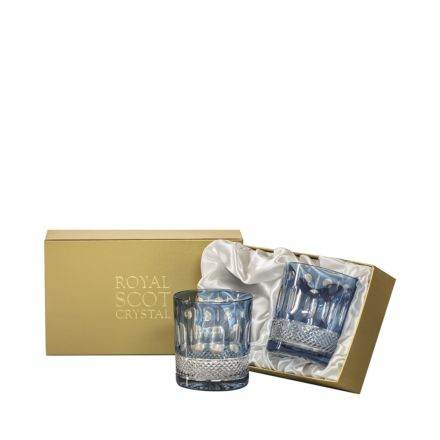 Belgravia - 2 Large Crystal Tumblers (Sky Blue) - 95mm (Presentation Boxed) | Royal Scot Crystal - New!