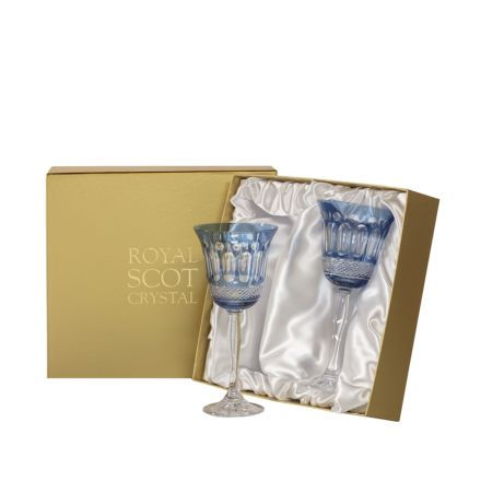 Belgravia - 2 Large Crystal Wine Glasses (Sky Blue) - 210 mm (Presentation Boxed) | Royal Scot Crystal - New!
