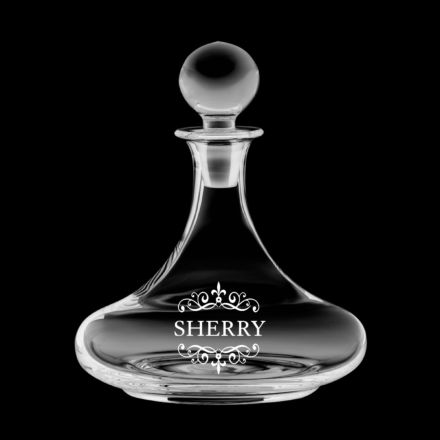 Classic Collection - Ships Decanter ENGRAVED SHERRY, 225mm (Gift Boxed) | Royal Scot Crystal