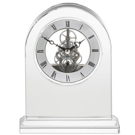 Clock - Large Mantle Crystal Clock With Engraving Options  (Presentation Boxed)