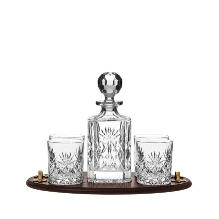 Westminster Club Tray & Crystal Square Spirit Decanter with 4 Large Crystal Tumblers - (Gift Boxed) | Royal Scot Crystal