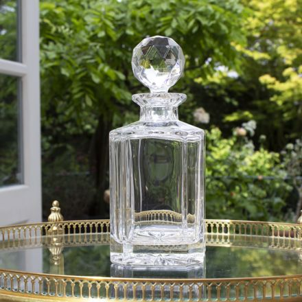 Classic Square Spirit Crystal Decanter with star base and round stopper 240mm | Royal Scot Crystal