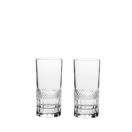 Diamonds - 2 Crystal Tall Tumblers 150mm (Gift Boxed) | Royal Scot Crystal