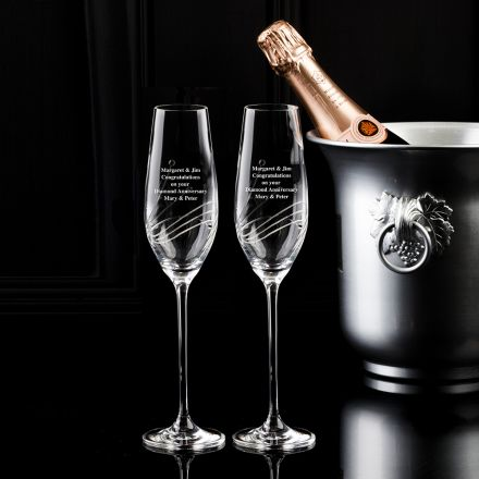 Personalised - Hand Cut Engraved Diamante - 2 Crystal Champagne Flutes - 263mm (Presentation Boxed)| Royal Scot Crystal