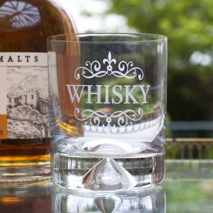 Whisky (engraved) - Large Tumbler (Dimple Base) (Gift Boxed) | Royal Scot Crystal - Perfect Father's Day Gift