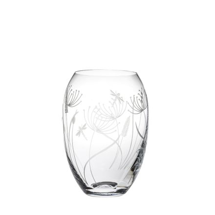 Dragonfly Medium Barrel Vase (Giftware) - 180mm (Gift Boxed) | Royal Scot Crystal
