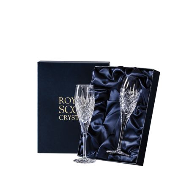 Edinburgh - 2 Crystal Champagne Flutes 218mm (Presentation Boxed) | Royal Scot Crystal - New Shape