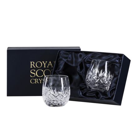 Edinburgh - 2 Large Barrel / Water Tumblers  - 95mm (Presentation Boxed) | Royal Scot Crystal