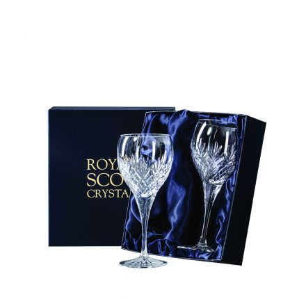 Edinburgh - 2 Large Crystal Wine Glasses 210mm (Presentation Boxed) | Royal Scot Crystal - New Shape