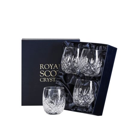 Edinburgh - 4 Gin & Tonic Crystal Tumblers (G&T) 12oz (Barrel Shaped) 95mm (Presentation Boxed) | Royal Scot Crystal