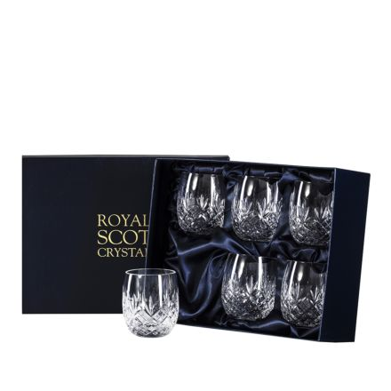 Edinburgh -  6 Gin & Tonic Crystal Tumblers (G&T) 12oz (Barrel Shaped) - 95mm (Presentation Boxed) | Royal Scot Crystal