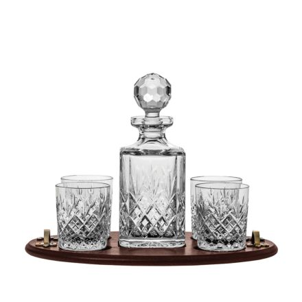 Edinburgh Club Tray Set (Square Decanter & 4 Large Tumblers on a Solid Oak Wooden Tray) (Gift Boxed)   Royal Scot Crystal