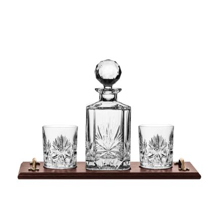 Edinburgh Star - Whisky Tray Set (Square Spirit Decanter & 2 Large Tumblers) | Royal Scot Crystal