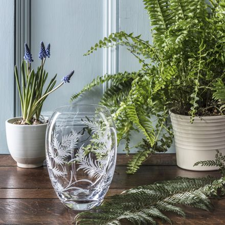 Woodland Fern Small Barrel Vase - 145mm (Gift Boxed) | Royal Scot Crystal