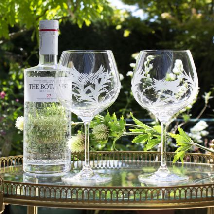 Flower of Scotland (Thistle) - 2 Gin and Tonic (G&T) Copa Glasses 210mm (Gift Boxed) | Royal Scot Crystal
