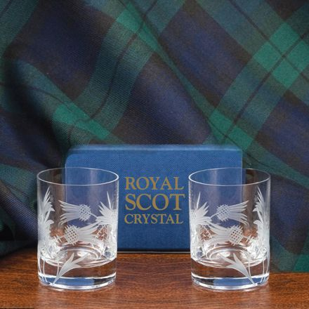 Flower of Scotland (thistle) - 2 Tot (Shot)Glasses (Matt, Straight Sided) (Gift Boxed)