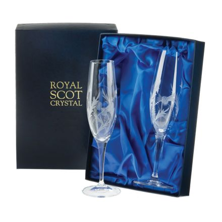Flower of Scotland (thistle) - 2 Crystal Champagne Flutes 236mm (Presentation Boxed) | Royal Scot Crystal