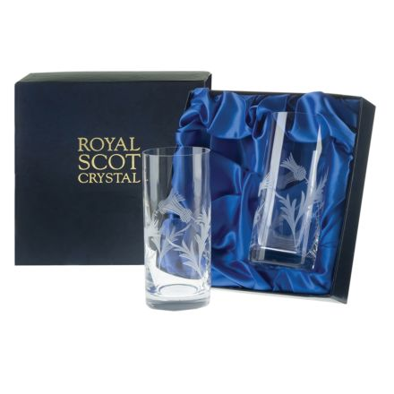 Flower of Scotland (thistle) - 2 Tall Crystal Tumblers 147mm (Presentation Boxed) | Royal Scot Crystal