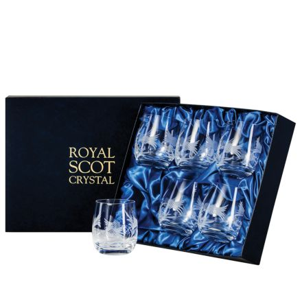 Flower of Scotland (thistle) - 6 Whisky Tumblers ( Barrel Shaped) 86mm (Presentation Boxed) | Royal Scot Crystal