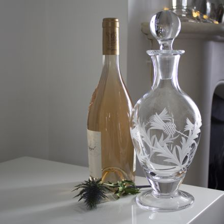 Flower of Scotland - Crystal Footed Wine / Port Decanter - 310mm (Gift Boxed) | Royal Scot Crystal