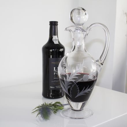Flower of Scotland - Handled Wine Decanter, 310mm (Gift Boxed) | Royal Scot Crystal