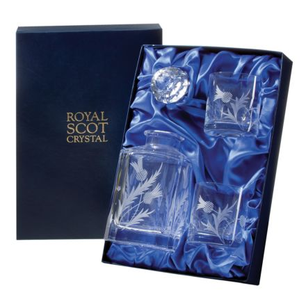 Flower of Scotland (thistle) - Whisky Set: 1 Square Spirit Decanter & 2 Large Tumblers (Presentation Boxed) | Royal Scot Crystal