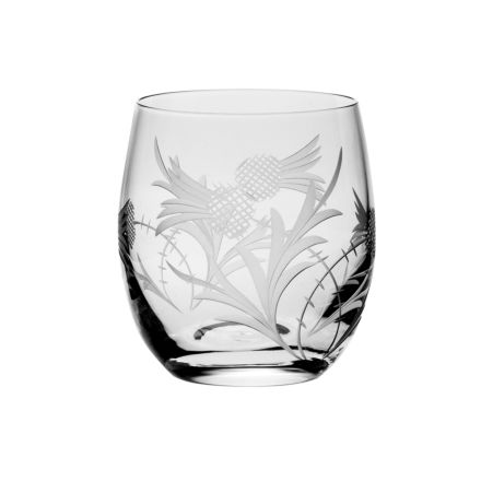 Flower of Scotland (Thistle) - 1 Whisky Tumbler ( Barrel Shape) 86mm (Gift Boxed) | Royal Scot Crystal