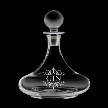 Classic Collection - Ships Decanter ENGRAVED GIN, 225mm (Gift Boxed) | Royal Scot Crystal