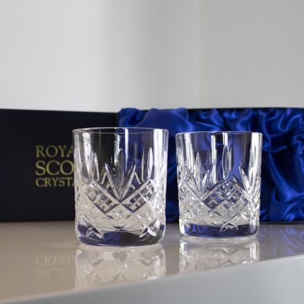 Glencoe - 2 Large Crystal Tumblers 95 mm (Blue Presentation Boxed) | Royal Scot Crystal