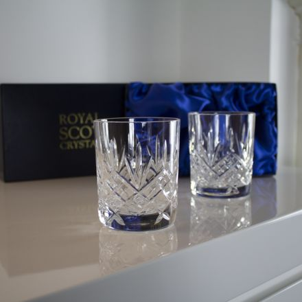 Glencoe - 2 Whisky Tumblers 84 mm (Blue Presentation Boxed) | Royal Scot Crystal