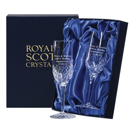 Personalised - Hand Cut Engraved 2 Highland Champagne Flutes - 212mm (Presentation Boxed) | Royal Scot Crystal