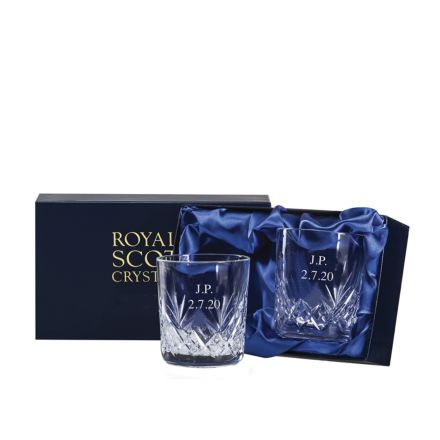 Personalised - Hand Cut Engraved 2 Highland Large Crystal Tumblers 95mm (Presentation Boxed) | Royal Scot Crystal