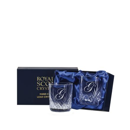 Personalised - 2 Hand Cut Engraved Highland Whisky Tumblers - 87mm (Presentation Boxed)   Royal Scot Crystal