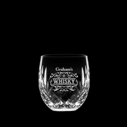 Personalised - 1 Hand Cut Highland Barrel Whisky Tumbler with Whisky label Engraving and Your Chosen Name - 85mm (Gift Boxed) | Royal Scot Crystal