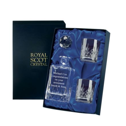 Personalised - Hand Cut Crystal Engraved Whisky Set Highland  (Presentation Boxed)  | Royal Scot Crystal