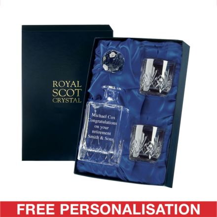 Personalised - Hand Cut Crystal Engraved Whisky Set Highland (O.F. Tumblers)  (Presentation Boxed) | Royal Scot Crystal