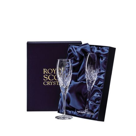 Highland - 2 Crystal Champagne Flutes 218mm (Presentation Boxed) - New Shape | Royal Scot Crystal