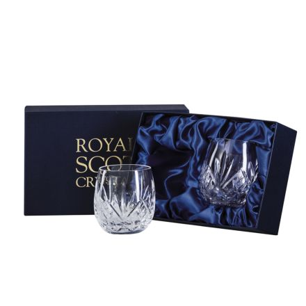 Highland Crystal 2 Large Barrel / Water Tumblers 95mm (Presentation Boxed) | Royal Scot Crystal