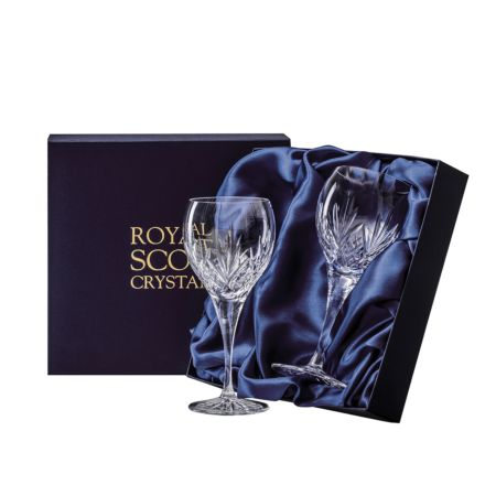 Highland - 2 Crystal Large Wine Glasses 210mm (Presentation Boxed) - New Shape | Royal Scot Crystal