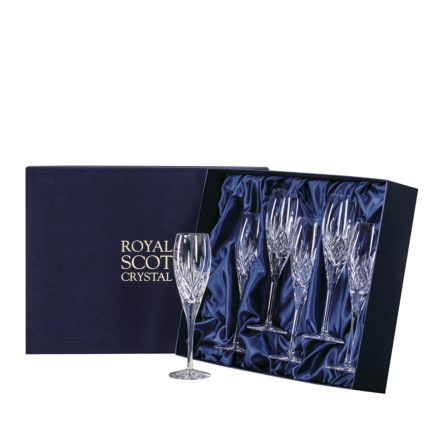 Highland - 6 Crystal Champagne Flutes 218mm (Presentation Boxed) - New Shape | Royal Scot Crystal